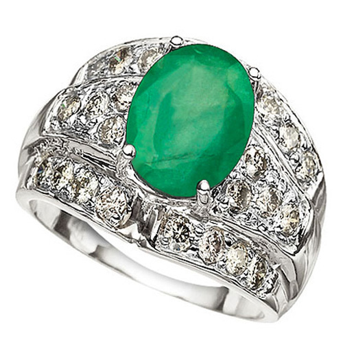 <B>DEA - </B>GLAMOROUS 3.20 CARAT TW (25 PCS) GENUINE DIAMOND & GENUINE EMERALD 14K <b><u>SOLID</b></u> WHITE GOLD RING