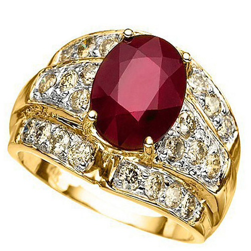 CHARMING 3.07 CARAT TW (25 PCS) GENUINE DIAMOND & AFRICAN RUBY 14K SOLID GOLD RING