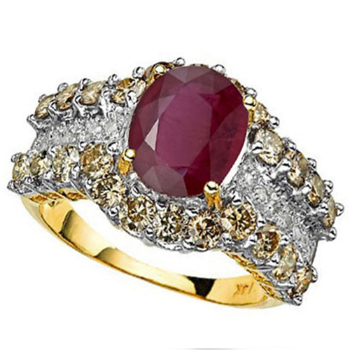 <B>DEA - </B>AMAZING 5.22 CARAT TW (37 PCS) AFRICAN RUBY & GENUINE DIAMOND 14K <b><u>SOLID</b></u> YELLOW GOLD RING