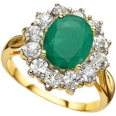 <B>DEA - </B>AMAZING 4.18 CARAT TW (13 PCS) GENUINE EMERALD & GENUINE WHITE SAPPHIRE 14K <b><u>SOLID</b></u> YELLOW GOLD RING