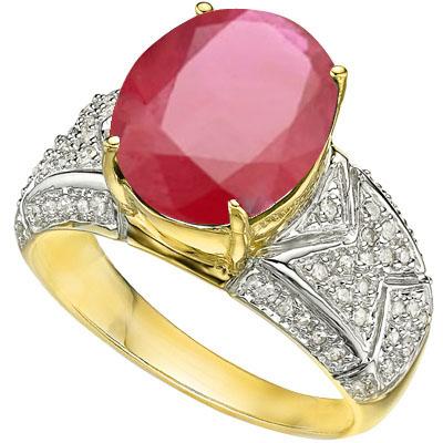 <B>DEA - </B>EXQUISITE 6.21 CARAT TW (59 PCS) GENUINE DIAMOND & AFRICAN RUBY 14K <b><u>SOLID</b></u> YELLOW GOLD RING