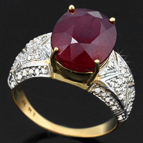 <B>DEA - </B>CAPTIVATING 6.99 CARAT TW (59 PCS) GENUINE DIAMOND & AFRICAN RUBY 14K <b><u>SOLID</b></u> YELLOW GOLD RING