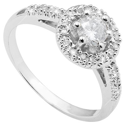 1 CARAT WHITE TOPAZ & 26 PCS GENUINE DIAMOND 925 STERLING SILVER RING