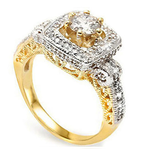 <B>DEA - </B>ELITE 0.63 CARAT TW (57 PCS) GENUINE DIAMOND & GENUINE DIAMOND 14K <b><u>SOLID</b></u> YELLOW GOLD RING