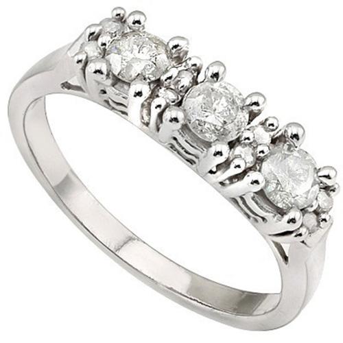 <B>DEA - </B>PRETTY 2/5 CARAT TW (11 PCS) GENUINE DIAMOND 14K <b><u>SOLID</b></u> WHITE GOLD RING
