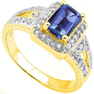 1 2/3 CARAT LAB TANZANITE & 1/5 CARAT 24 PCS DIAMOND 925 STERLING SILVER RING