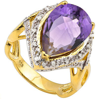 4 3/4 CARAT AMETHYST & DIAMOND 925 STERLING SILVER RING