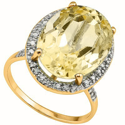 CLASSIC 6.5 CARAT CITRINE & 16PCS GENUINE DIAMONDS 10K SOLID YELLOW GOLD RING