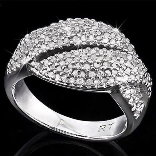 1 CARATS (164 PCS) GENUINE DIAMONDS 925 STERLING SILVER RING