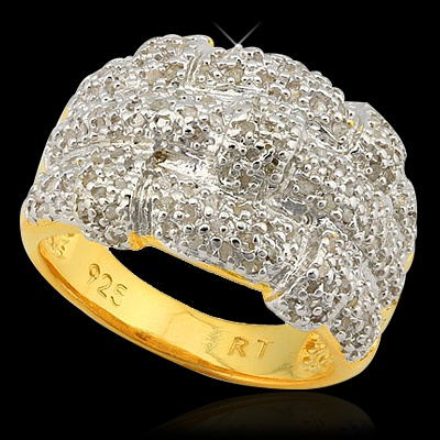 1 CARAT 181 PCS DIAMOND 18K GOLD OVER STERLING SILVER RING