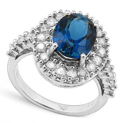 (See Video Inside)<B>DEA - </B>MARVELOUS 4.29 CARAT TW (27 PCS) GENUINE DIAMOND & LONDON BLUE TOPAZ 14K <b><u>SOLID</b></u> WHITE GOLD RING