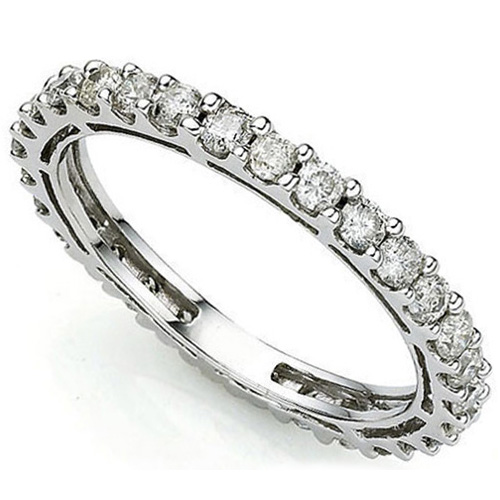 <B>DEA - </B>BRILLIANT 1.04 CARAT TW (30 PCS) GENUINE DIAMOND 14K <b><u>SOLID</b></u> WHITE GOLD RING