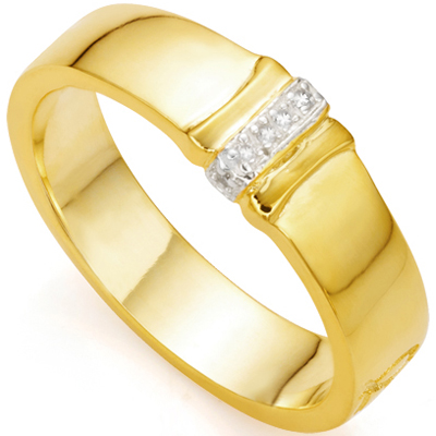 AMAZING 0.04 CARAT TW (6 PCS) GENUINE DIAMOND 18K YELLOW GOLD OVER STERLING SILVER RING