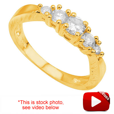(See Video Inside)<B>DEA - </B>LOVELY 0.51 CARAT TW (5 PCS) GENUINE DIAMOND & GENUINE DIAMOND 14K <b><u>SOLID</b></u> YELLOW GOLD RING