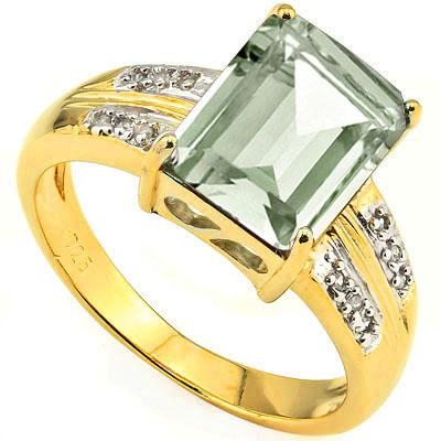 2 4/5 CARAT GREEN AMETHYST & 12 PCS GENUINE DIAMOND 925 STERLING SILVER RING