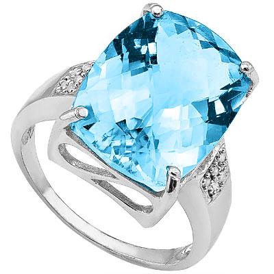 EXCELLENT 12.45 CARAT TW (11 PCS) BLUE TOPAZ & GENUINE DIAMOND 14KT <b><u>SOLID</b></u> WHITE GOLD RING