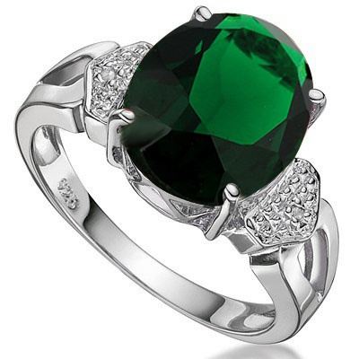 4 CARAT CREATED EMERALD & DIAMOND 925 STERLING SILVER RING