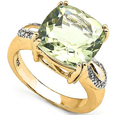 6 1/2 CARAT GREEN AMETHYST & 14 PCS DIAMOND 925 STERLING SILVER RING