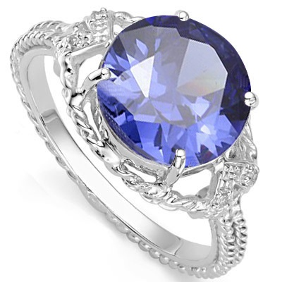 6 1/5 CARAT LAB TANZANITE & DIAMOND 925 STERLING SILVER RING