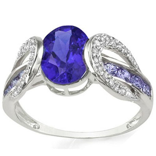 GORGEOUS 3.902 CARAT TW (37 PCS) GENUINE TANZANITE & GENUINE TANZANITE 10K SOLID WHITE GOLD RING