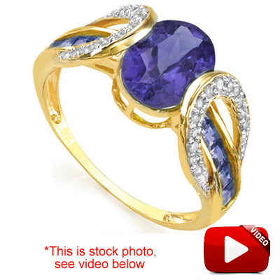 (See Video Inside) PRECIOUS 1.27 CT GENUINE TANZANITE & 26PCS GENUINE DIAMOND 10K <b><u>SOLID</b></u> YELLOW GOLD RING