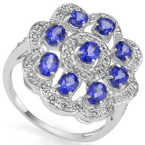EXQUISITE 1.36 CARAT TW (9 PCS) GENUINE TANZANITE & 44PCS GENUINE DIAMONDS 10K SOLID WHITE GOLD RING