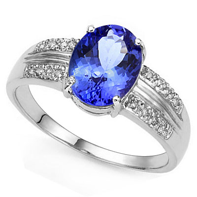 LOVELY 1.18 CARAT GENUINE TANZANITE & 16PCS GENUINE DIAMONDS 10K SOLID WHITE GOLD RING