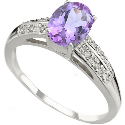 1 CARAT AMETHYST & 12 PCS GENUINE DIAMOND 925 STERLING SILVER RING