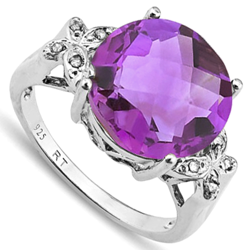 6 4/5 CARAT AMETHYST & DIAMOND 925 STERLING SILVER RING