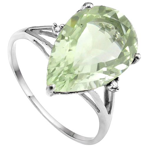 4 1/2 CARAT GREEN AMETHYST & DIAMOND 10KT SOLID GOLD RING