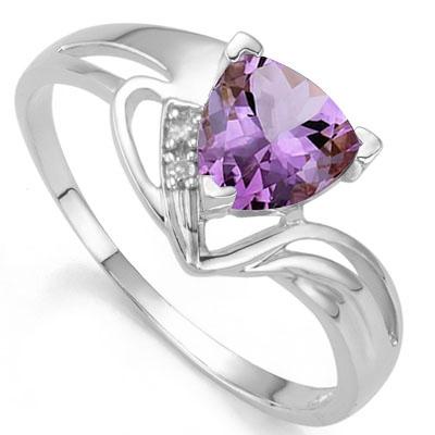 IRRESISTIBLE ! 2/3 CARAT AMETHYST & DIAMOND 925 STERLING SILVER RING
