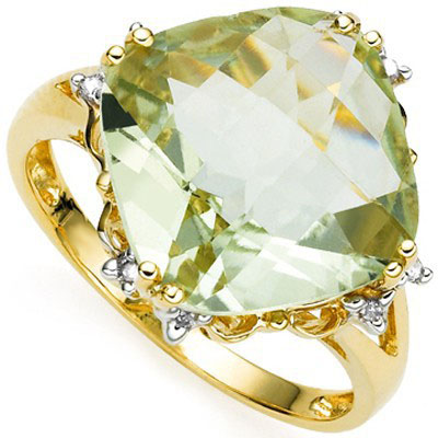 3 4/5 CARAT GREEN AMETHYST & 8 PCS DIAMOND 925 STERLING SILVER RING