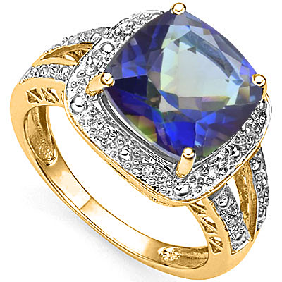 3 1/2 CARAT OCEAN MYSTIC GEMSTONE & 12 PCS GENUINE DIAMOND 925 STERLING SILVER RING