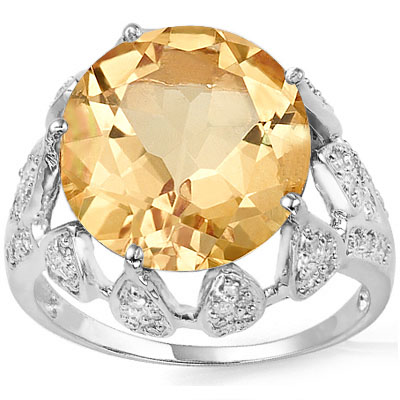 AWESOME 5.5 CARAT CITRINE & 68PCS GENUINE DIAMONDS 10K SOLID WHITE GOLD RING