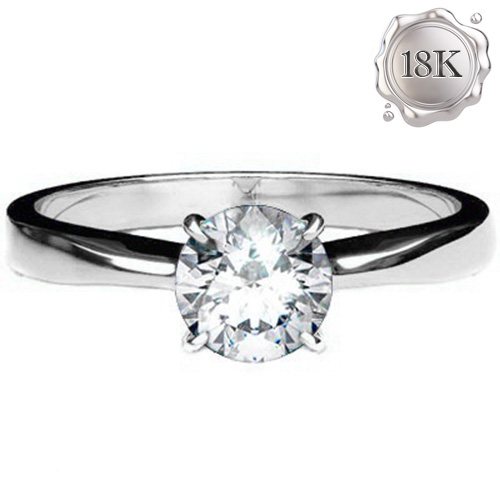 EXCLUSIVE 0.22 CARAT TW (1 PCS) GENUINE DIAMOND 18K SOLID WHITE GOLD RING