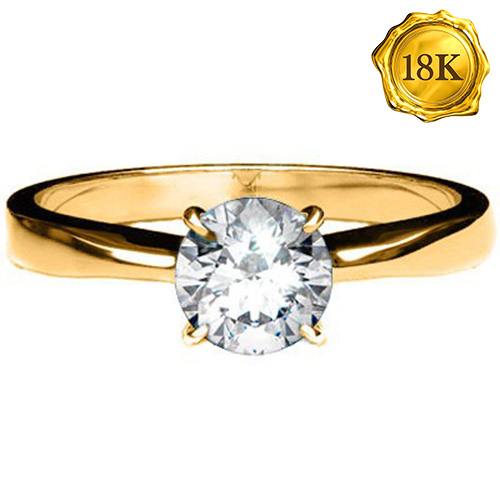 (See Video Inside) EXCLUSIVE 0.12 CARAT TW (1 PCS) GENUINE DIAMOND 18K <b><u>SOLID</b></u> YELLOW GOLD RING