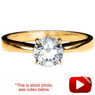 (See Video Inside)SPECTACULAR 0.13 CARAT TW (1 PCS) GENUINE DIAMOND 14K <b><u>SOLID</b></u> YELLOW GOLD RING
