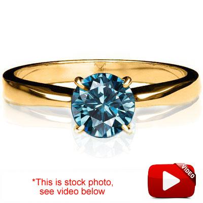 (See Video Inside)PERFECT 0.10 CARAT TW (1 PCS) BLUE DIAMOND 18K <b><u>SOLID</b></u> YELLOW GOLD RING