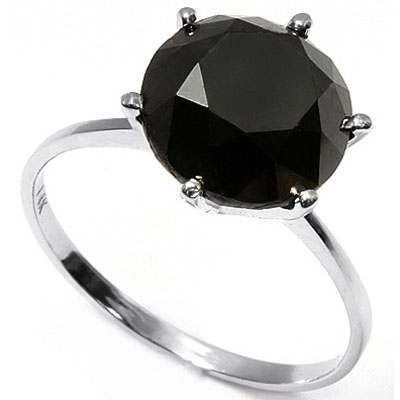 LOVELY 1.34 CARAT TW (1 PCS) BLACK DIAMOND 14K <b><u>SOLID</b></u> WHITE GOLD RING