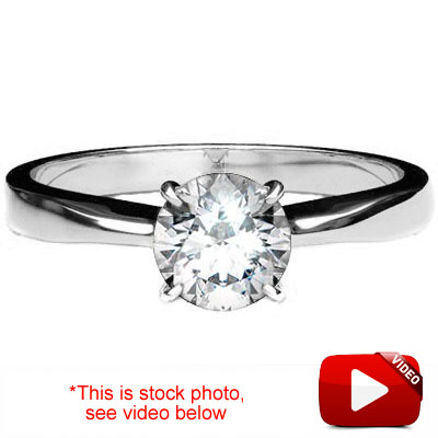 (See Video Inside)<B>DEA - </B>GLAMOROUS 0.84 CARAT TW (1 PCS) GENUINE DIAMOND 18K <b><u>SOLID</b></u> WHITE GOLD RING