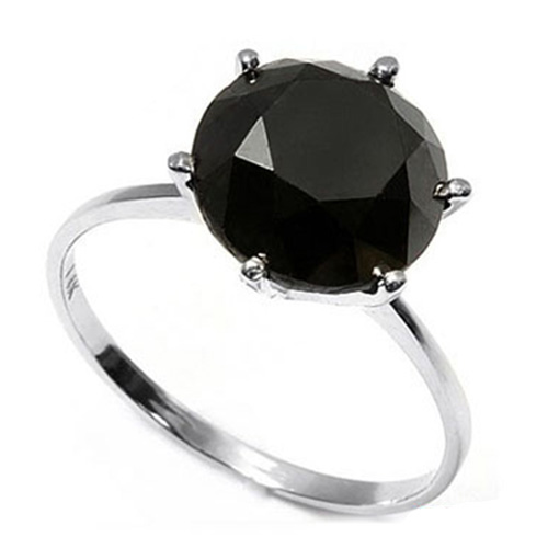 AWESOME 2.57 CARAT TW (1 PCS) BLACK DIAMOND 14K SOLID GOLD RING
