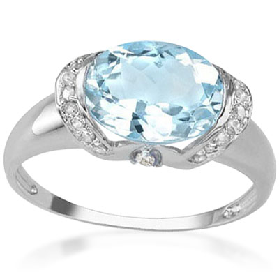 BRILLIANT 3.20 CARAT BLUE TOPAZ WITH WHITE TOPAZ PLATINUM OVER 0.925 STERLING SILVER RING