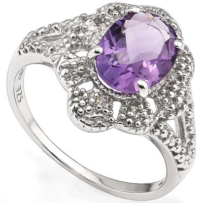 EXCELLENT 1.53 CT AMETHYST WITH DOUBLE GENUINE DIAMONDS 0.925 STERLING SILVER W/ PLATINUM RING