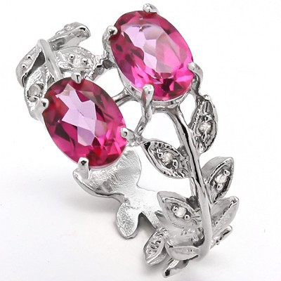 ASTONISHING 2.00 CT PINK TOPAZ WITH 8 PCS WHITE DIAMOND 0.925 STERLING SILVER W/ PLATINUM RING