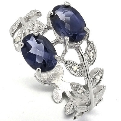 AMAZING 2.00 CT GENUINE SAPPHIRE & 8 PCS WHITE DIAMOND 0.925 STERLING SILVER W/ PLATINUM RING