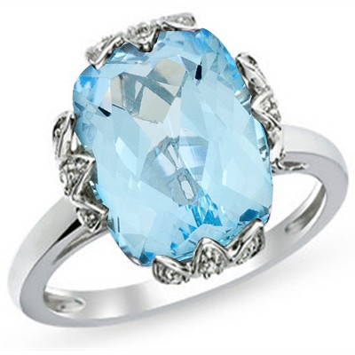 EXQUISITE 7.27 CT BLUE TOPAZ WITH DOUBLE DIAMOND 0.925 STERLING SILVER W/ PLATINUM RING
