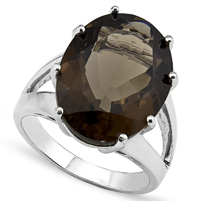 PRETTY 10.91 CARAT SMOKEY TOPAZ PLATINUM OVER 0.925 STERLING SILVER RING