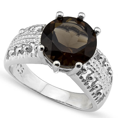 CHARMING 3.23 CARAT SMOKEY TOPAZ PLATINUM OVER 0.925 STERLING SILVER RING