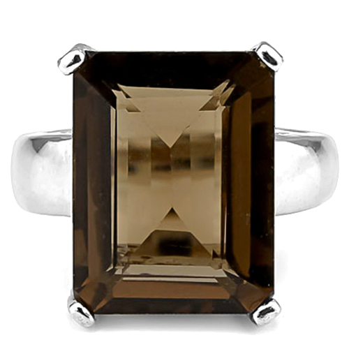 SMASHING 10.81 CARAT SMOKEY TOPAZ PLATINUM OVER 0.925 STERLING SILVER RING