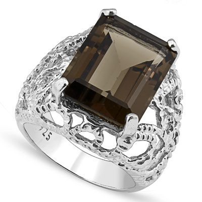 SPARKLING 10.75 CARAT SMOKEY TOPAZ PLATINUM OVER 0.925 STERLING SILVER RING